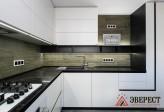 Угловая кухня без ручек из крашенного МДФ
