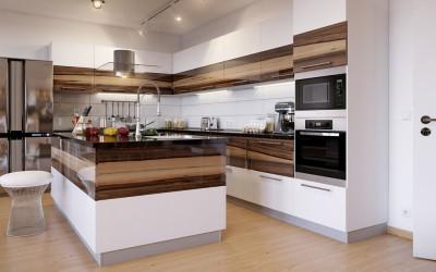 Шпонированные фасады для кухни